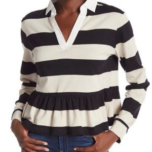 Abound Striped Long Sleeve Rugby Peplum Polo NWT